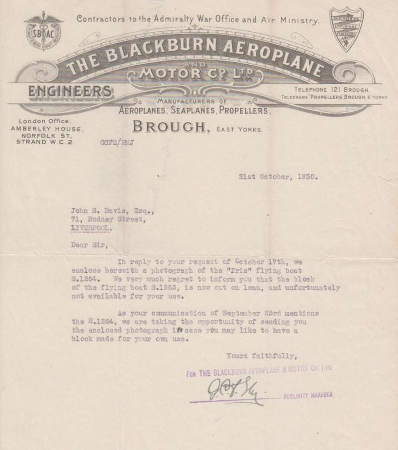 (Ephemera) The Blackburn Aeroplane and Motor Company Ltd, Contractors to the Admiralty War Office and, Manufacturers of Aeroplanes, Seaplanes and Propellers. An original letter on the company headed note paper and dated October 21, 1930