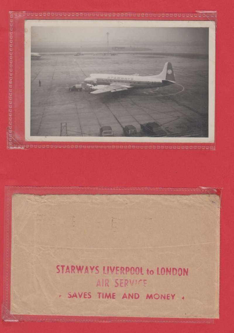 (Ephemera) 'Starways'. the Liverpool based British airline. The company's Vickers Viscount G-ARIR on the tarmac, an original B&W photograph, 15 x 10 cm. Also a fine strike of a 'Starways Liverpool to London/Air Service/Saves Time and Money' propaganda hs on the back of an airmail cover from UK to Belgium. The airline operated from 1948 until 1963. Following its liquidation control was passed to the Lancashire Aircraft Corporation.