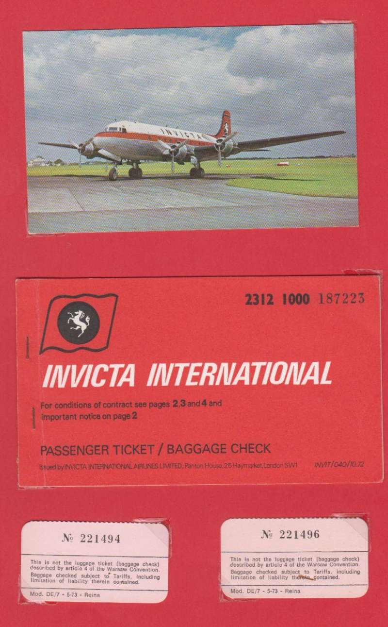 (Ephemera) Invicta International Airlines Ltd, a 30x21 cm display showing a unused colour PPC of the company's Douglas Skymaster on the tarmac. Also a passenger ticket and baggage check dated May 1st 1973 for a flight from Luton to Milan and return. Invicta was a charter airline based at Manston Airport which operated non-scheduled passenger and freight services from 1965 to 1982.