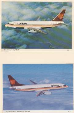 (Ephemera) Orion Airways Boeing 737-200, and Boeing 737-300 in company livery, two unused PPC's. Image.