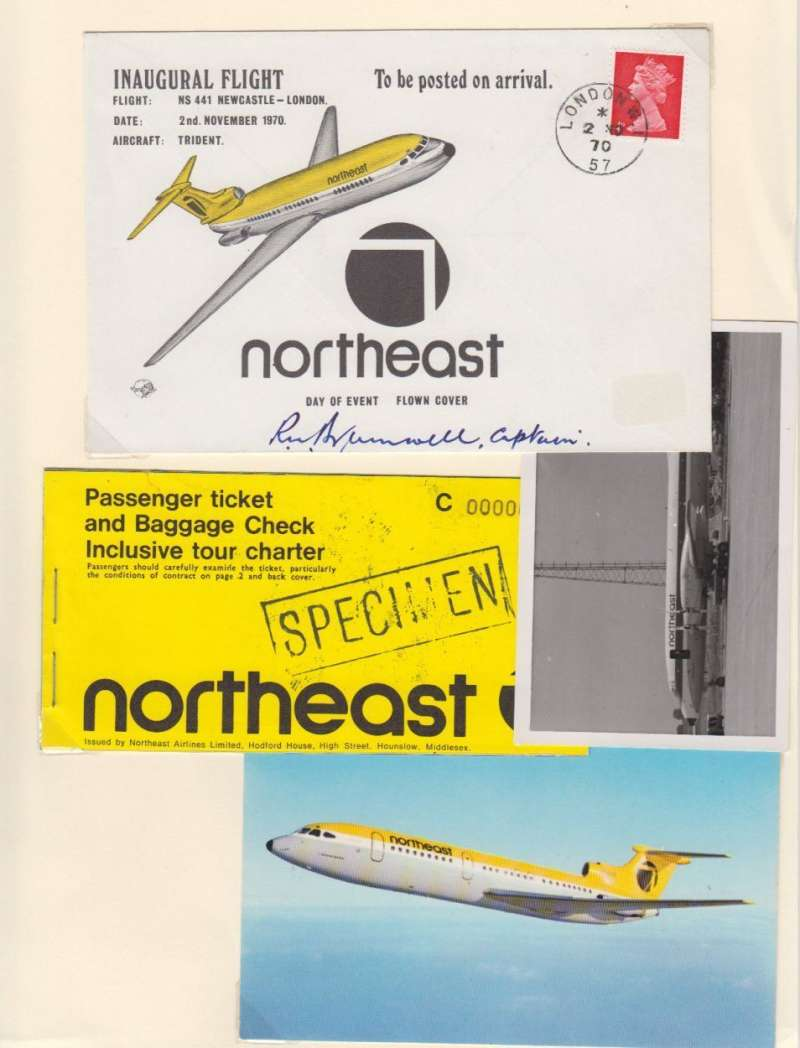 (Ephemera) Northeast Airline, 30x21cm display mounted on card showing 1970 F/F Newcastle-London signed by the pilot; passenger ticket and baggage check (Specimen); original B&W photograph, 7x11cm,  of NEA Vickers Viscount on the tarmac; and unused colour PPC of NEA Trident in flight. NEA was operational from November 1, 1970 until it became part of the British Airways group in July 1973.