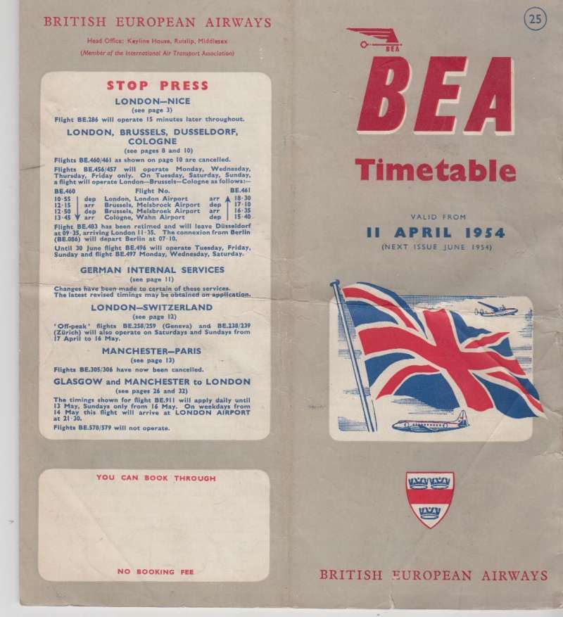 (Ephemera) BEA timetable April 1954 containing aircraft types, international and domestic fares, schedule of approximately 40 Domestic and International Air Services, 45 pages, 22x18 cm