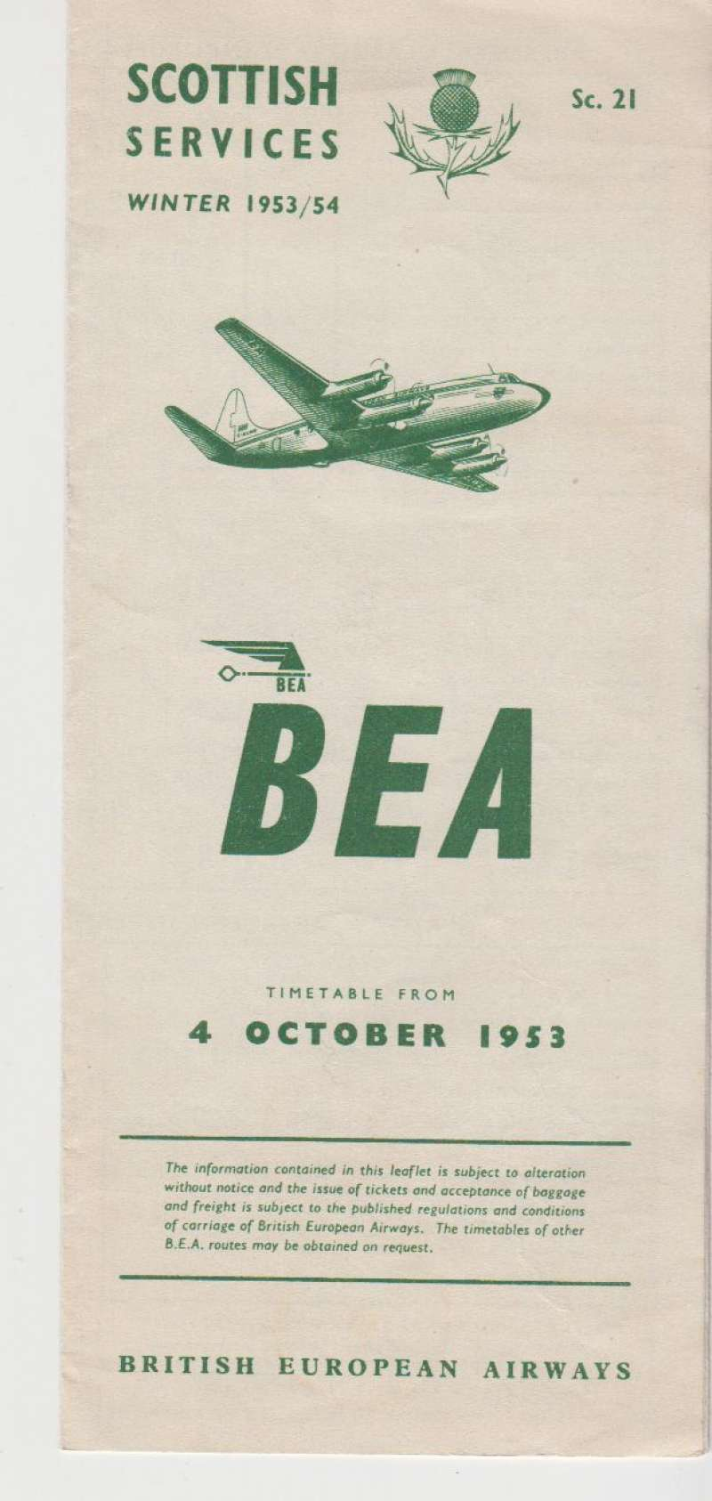 (Ephemera) BEA Scottish Winter Services, timetable, list of fares and map of routes, October 1953, 8 pages, 20x10 cm. Image.