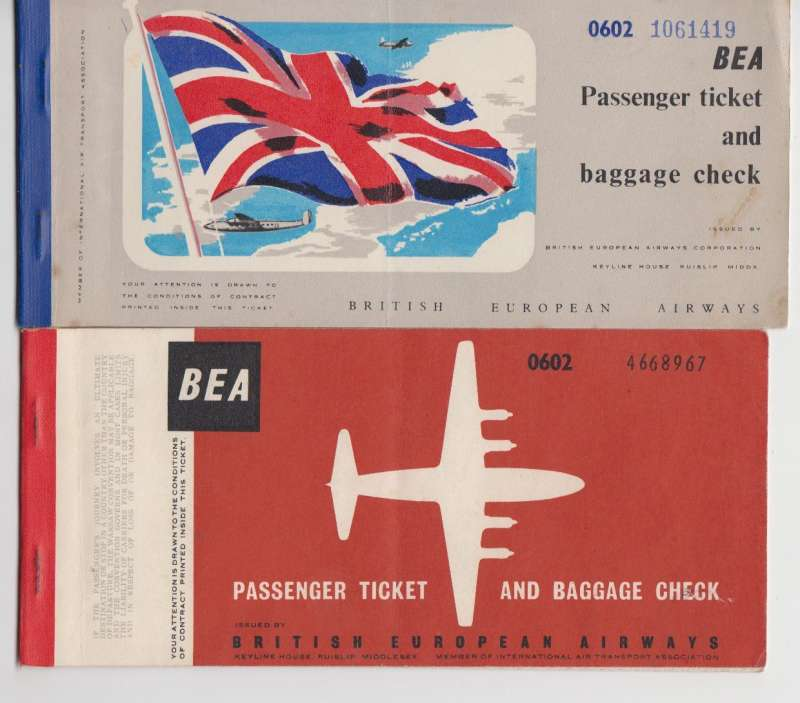(Ephemera) BEA passenger tickets and baggage checks (2) for flight from London to Brussels and return, January 1953, and London to Amsterdam and return April 1958 . Image