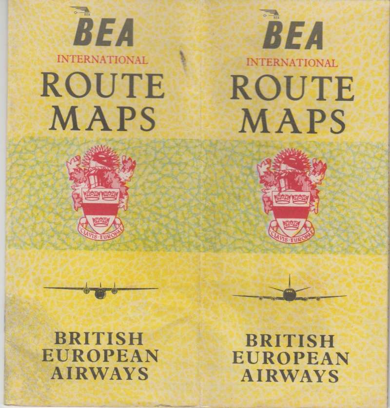 (Ephemera) BEA international coloured route maps for domestic and international services, 17 pages, 20x18. Image.