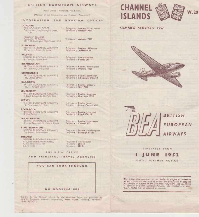 (Ephemera) BEA Channel Island summer services 1952, timetable for all services to and from Jersey, Guernsey, Birmingham, Manchester, Liverpool and Glasgow airports, 12 pages, 21x9cm.Image