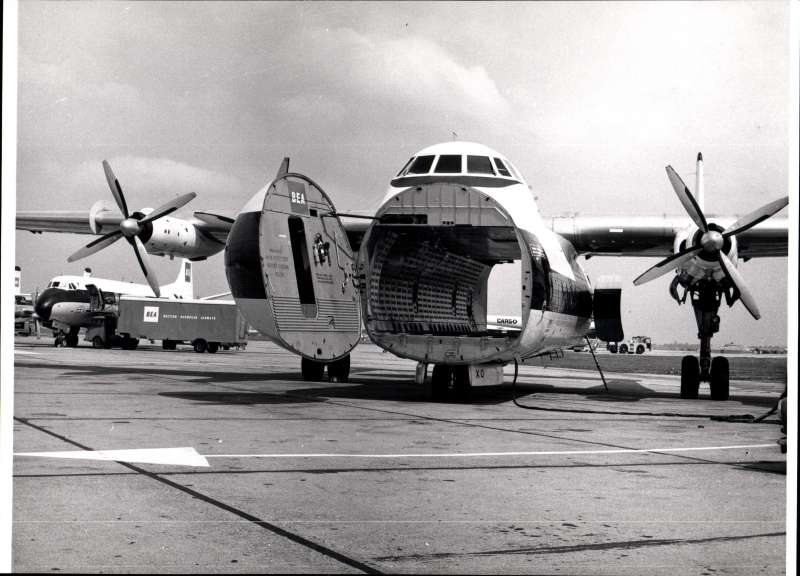 (Ephemera) BEA Cargo plane on tarmac showing full capacity, original B&W archve photograph, 25x20cm. Image.