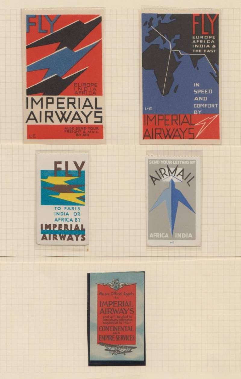 (Ephemera) Imperial Airways, selection of five attractive vignette, 'Fly to Europe India Africa' red/ black /blue, 'Fly to Europe Africa India and the East' red/ black /blue, 'Fly to Paris India or Africa' yellow/ brown/ blue, 'Send your letters by airmail to Africa and India' grey/pale blue/ blue. and 'We are Official Agents to Imperial Airways' Continental and Empire Services red/pale blue. Image.