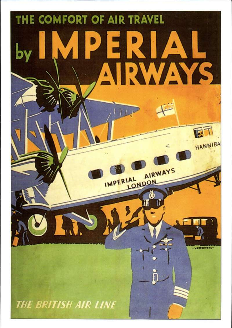 (Ephemera) Imperial  Airways liner Hannibal on the tarmac, legend 'The Comfort of Travel by Imperial Airways', a most attractive coloured PPC of an original  poster by Robert Opie.