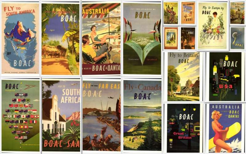 (Collections) BOAC superb collection of 19 reproduction colour PPCs, all unused, no duplication. Image.