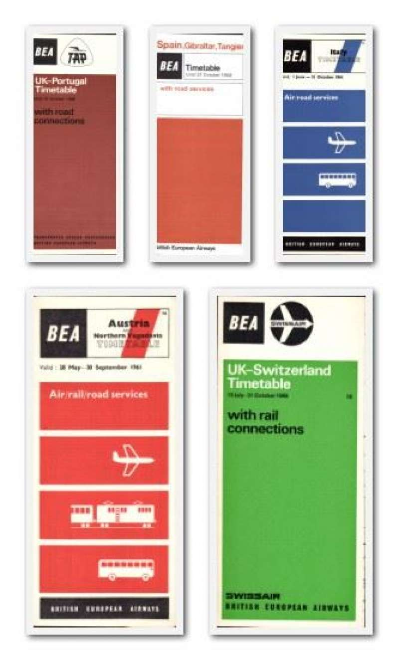 (Collections) BEA, five European timetables, including 1961 Italy, 1961 Austria, 1966 Portugal, 1966 Switzerland, and 1968 Spain, Gibraltar and Tangier. All fine. Image.