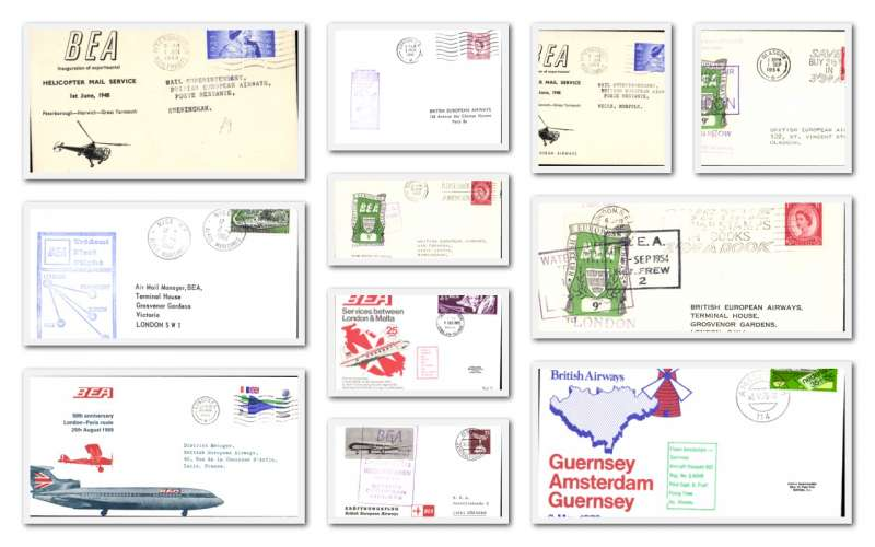 (Collections) BEA, eleven first flights, 1948-73, including 1948 Helicopters (2) 1953 Belfast-B'ham 8d air letter air letter stamp, 1954 Renfrew-London and London-Glasgow each with 9d air letter stamp, 1960 Trident Berlin-Munich,1961 Vanguard London-Paris, and 1964 Trident Nice-London. Image.