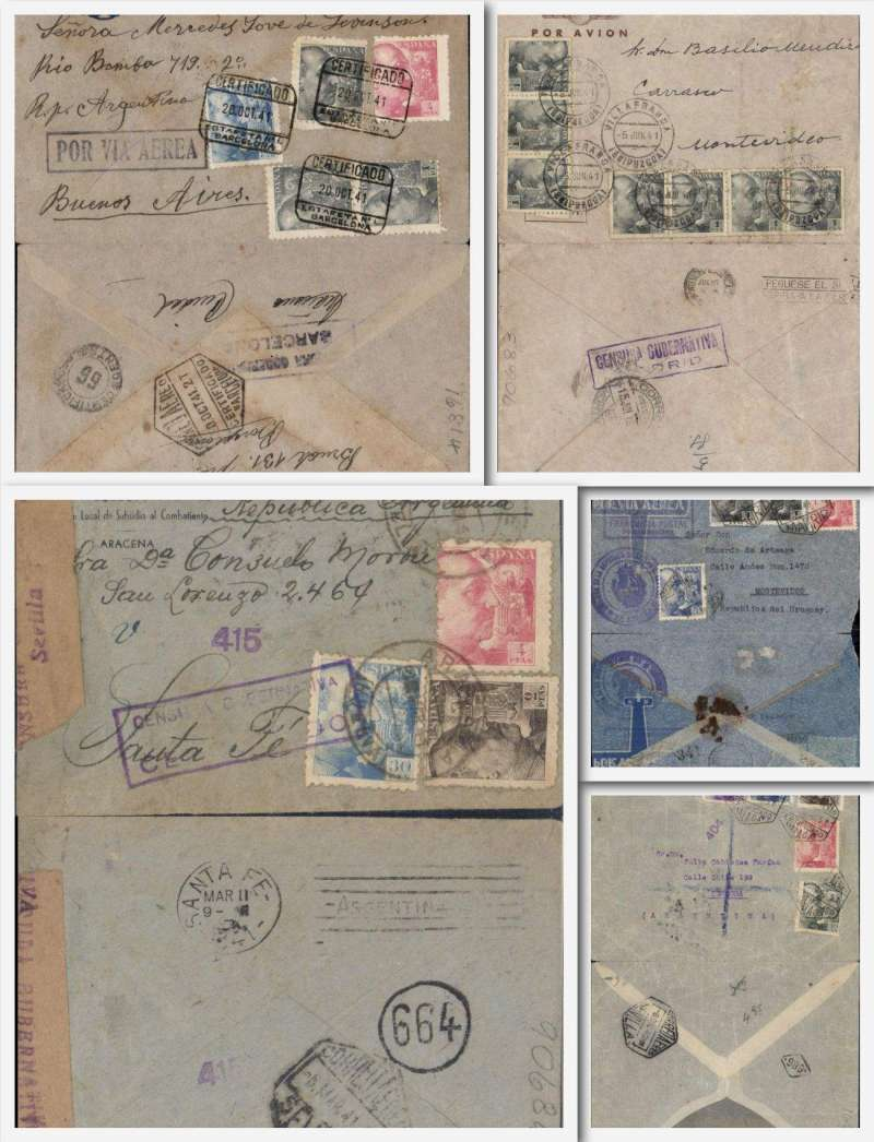 (Collections) LATI,  five flown covers from Spain to South America, 1940 Malaga to Cordoba, uncommon purple Spanish unframed censor mark #404 flap missing; 1941 Villa Franca to Montevideo, Censura Gubernativa/Madrid censor mark; 1940  Uruguay Consul cover, Madrid to Montevideo, boxed'Correspondencia/Official/Franquicia/Panamerica' hs  (neat non invasive 5mm trims on right and left sides, increasing to 1cm bottom rh corner, and verso neatly consists of top and bottom flaps held by residue of wax seal, 1941 Barcelona to Buenos Aires, reg cover, 'Por Via Aere' hs,  Censura Gubernata/Barcelona censor mark;  Image.