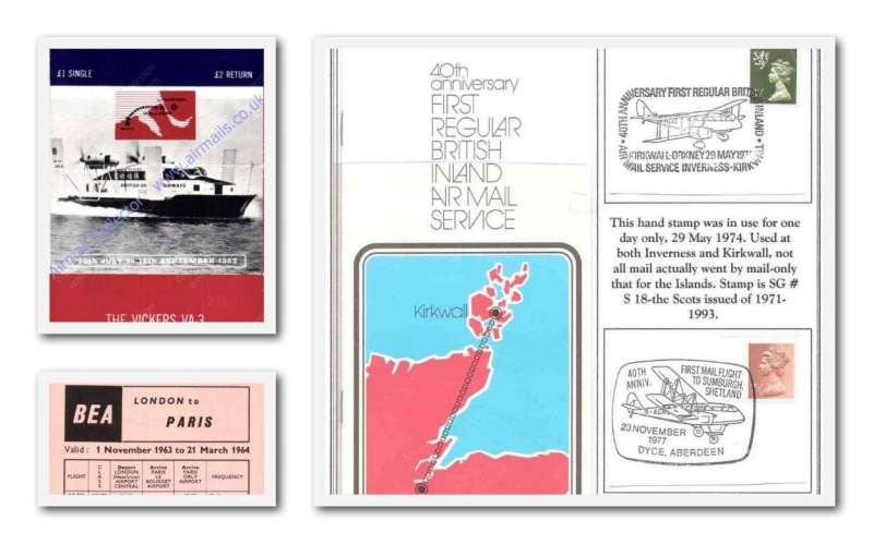 (Collections) GB Internal airmails ephemera, BEA London to Paris timetable 1963, timetable World's First  Hovercoach Rhyl to Wallasey 1962, 40th Anniversary British Inland Airmail Services, 10pp illustrated colour brochure 1974. Image.