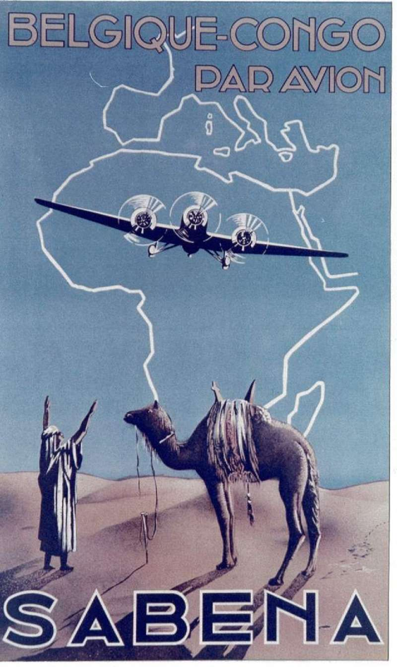 (Ephemera) Belgium-Belgian Congo/ Par Avion, colour photograph, 13x9cm, of scarce Sabina label showing camel in desert with trimotor plane flying overhead.Image.