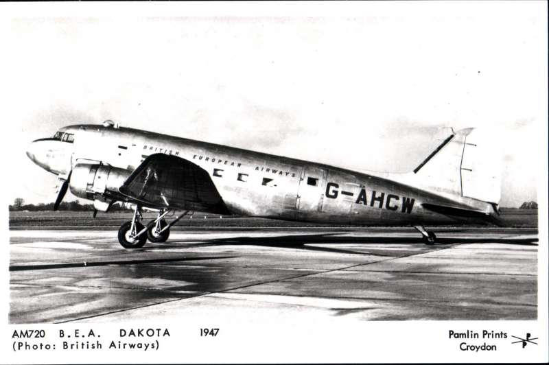 (Ephemera) BEA Dakota on the  ground, original B&W photocard,14x9cm, published by Pamlin 1947.