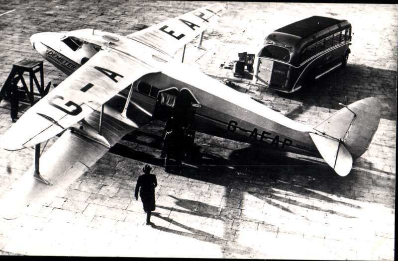 (Ephemera) DH 86 'Demeter', G-AEAP, on the  ground, original B&W photograph,14xi9cm, published by Real Photograph Co Ltd.