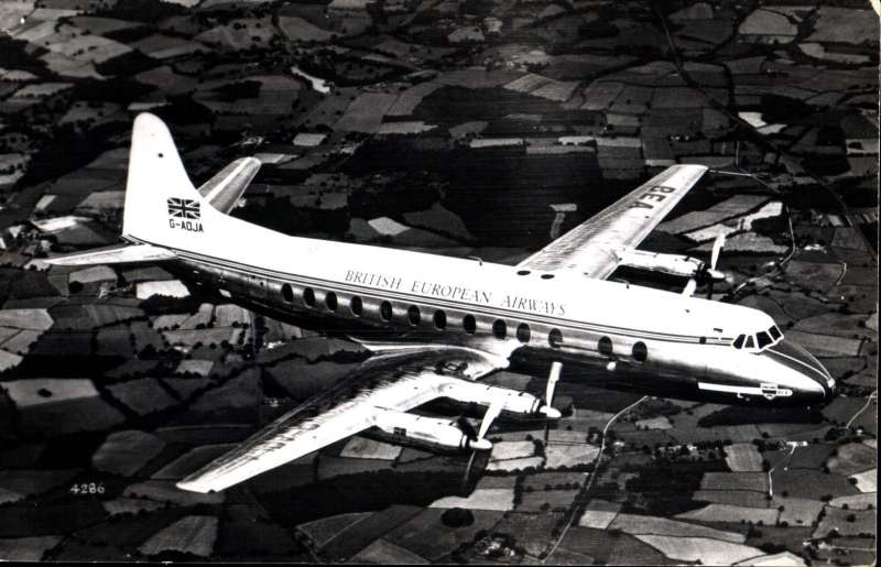 (Ephemera) BEA Viscount 802, G-ADJA, in flight, original B&W photograph,14xi9cm, published by Aircraft Photographs.