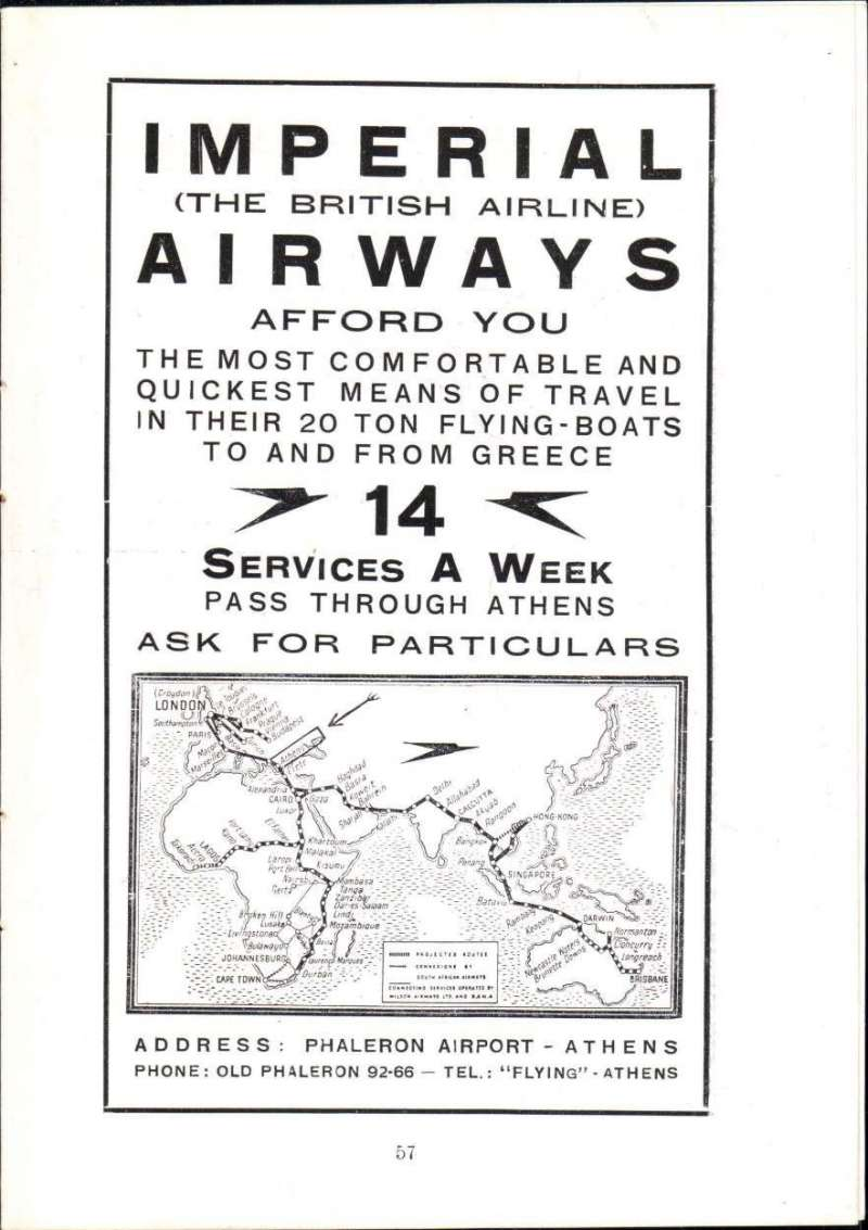 (Ephemera) Imperial Airways Publicity brochure, re 14 weekly flying boat services through Phaleron Airport, Athens, inc tour details and route map of incoming and outging services, 4pp, 16x12cm,
