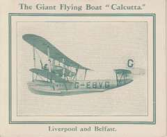 (Ephemera) 'Calcutta' Flying boat, pictured on the reverse side of the information folder distributed by the airline travel agents Jones, Dooley & Co, of Liverpool, pub 1928, pale green/white, 4pp, 12x15cm.