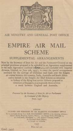 (Ephemera) Empire Air Mail Scheme, Supplemental Arrangements, published by the Air Ministry and General Ost Office, covering, special arrangements for carriage of Christmas Mails over the Empire air routes between GB and India, Australia and South Africa including extension of the flying boat service to Sydney, 4pp, pub 1937, 20x15cm.