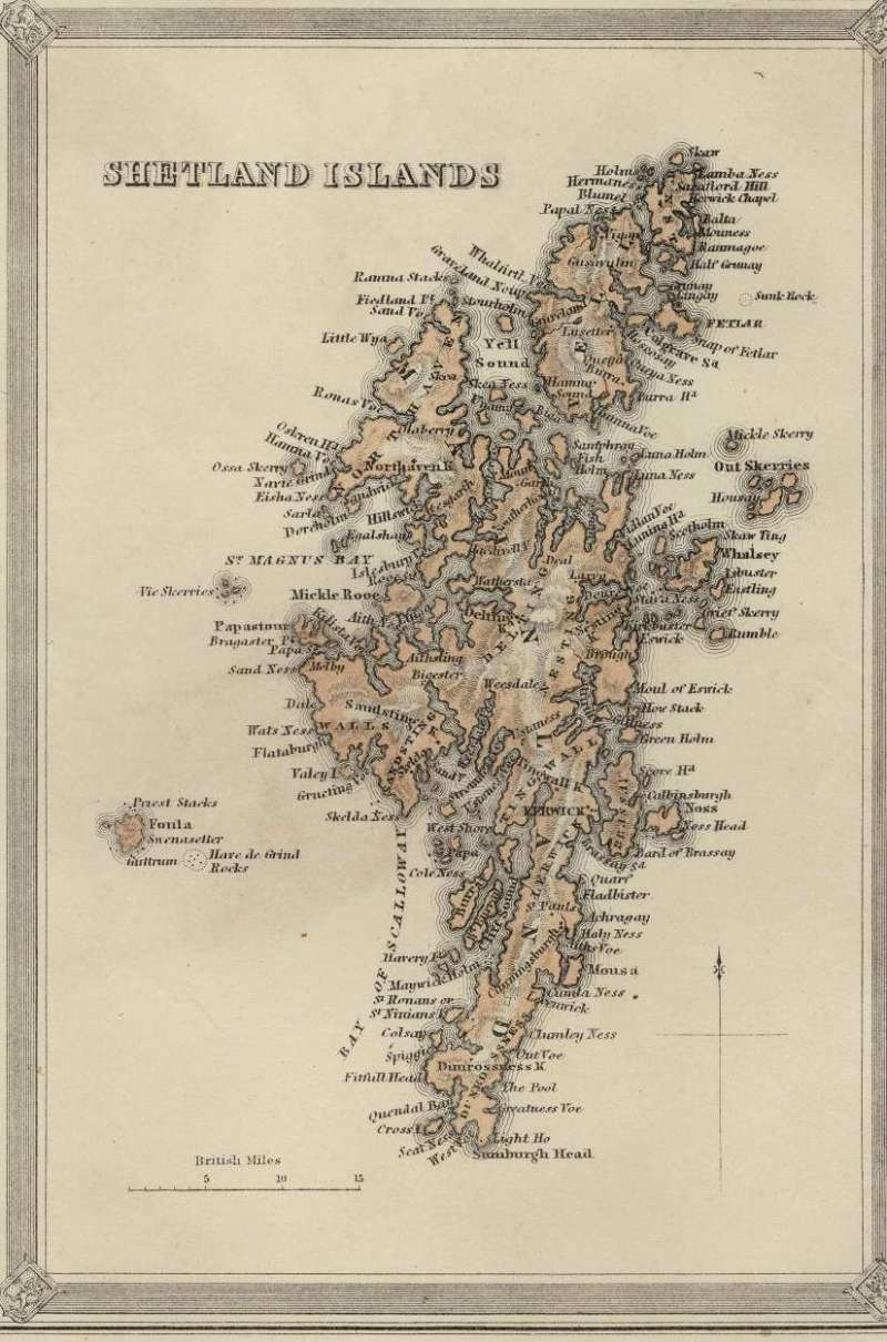 (Ephemera) Shetland Islands, mid-nineteenth century map, published by Archibold Fullrton & Company, 20x12cm.