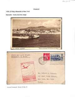(Ephemera) Clipper landing at Horta, original sepia PPC, and fine F/F Marseille to Horta with great strike official red  flight cachet, displayed together on album leaf.
