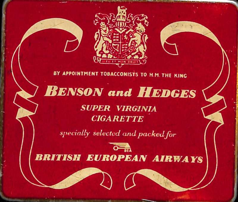 (Ephemera) BEA Benson and Hedges complimentary cigarette tin (empty),  and accompanying Refreshments Tariff, c1952.