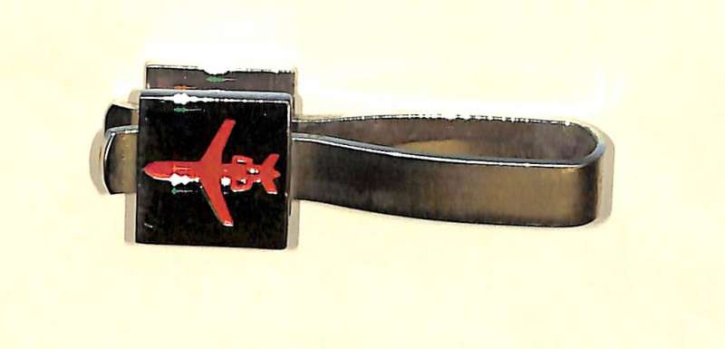 (Ephemera) BEA original tie clip, red and silver, B.E.A. on one side, trident jet on other. Very fine, red showing up as black on s