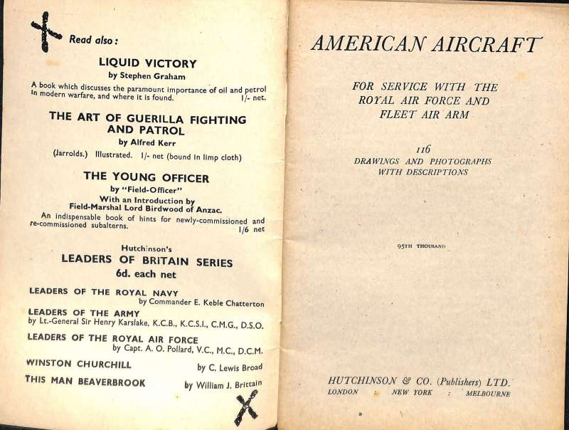 (Reference Material) American Aircraft Serving With the RAF and Fleet Air Arm during WWII, complete collection of 116 photographs and drawings with explanatory notes, A5, 65pp, good condition.