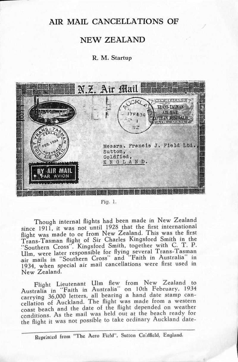 (Ephemera) Airmail Cancellations of New Zealand, R.M.Startup, official reprint formThe Aero Field, illustrated, 4pp.