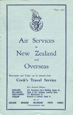 (Ephemera) Air Services in New Zealand and overseas, detailing  depart and arrival times and fares for all internal services, for overseas Auckland-Sydney-London;  Auckland-Vancouver; and Auckland-San Francisco, A5, 12pp, pub May 1947.