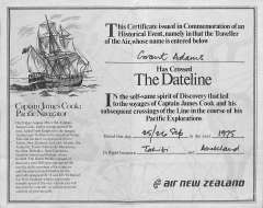 (Ephemera) Certificate of Crossing the International Date Line from Tahiti to Auckland, 25/9/75, 18x24cm, vertical fold.