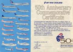 (Ephemera) 50th Anniversary Certificate commemorating 50 years since TEAL oerated its first ommercial passenger and airmail service and showing profile illustrations of 50 panes from its fleet, pub 30/4/1990.