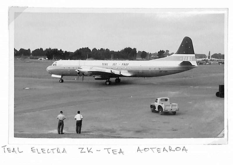 (Ephemera) TEAL Electra ZK-TEA 'Aoteara' on the tarmac.zAir New Zealand DC 8 on tarmac being loaded with mail prior to departure on F/F Christchurch to Sydney service, original B&W photograph, 11x17cm.