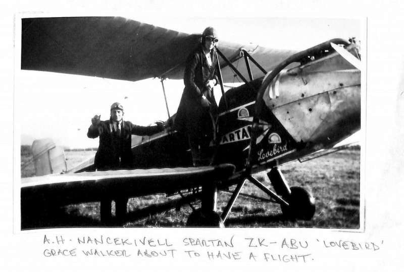 (Ephemera) New Zealand, Spartan ZK-ABU, owned from 1932 by Harold Nance-Kivell, Hokitika, who named it Lovebird. original B&W photograph showing Nance-Kivell about to take Grace Walker for a flight, Also original B&W photograph of  ZK-ABU being refuelled with crowd watching, both 10x16cm..