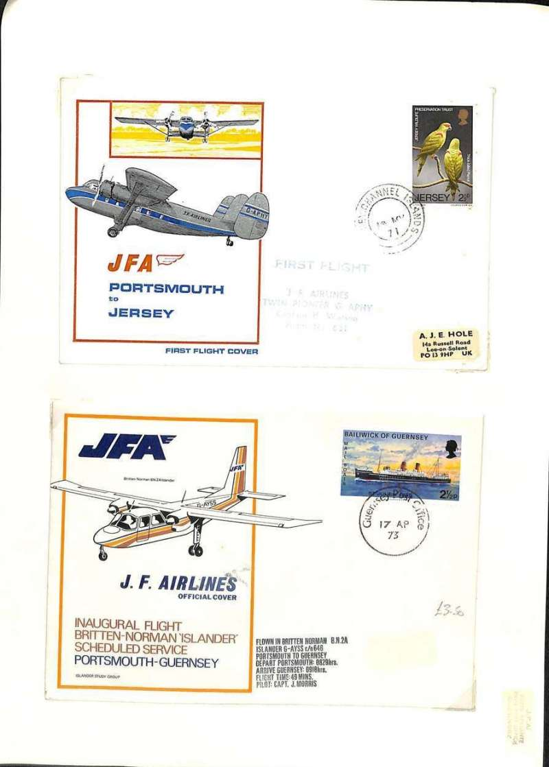 (Ephemera) Jersey Ferry Airlines (JFA), United Kingdom (1971-1974) based at Portsmouth airport and providing services to Channel Islands, 2 F/F's 1971 Portsmouth-Jersey, and 1973 Portsmouth-Guernsey.