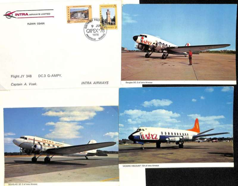 (Ephemera) Intra Airways Limited 1969-79, a private British independent airline serving the Channel Islands and Continental Europe, a three item assembly including a 1978 official company envelope flown from Gernsey with Cipex cancellation, and PPC's of Viscount and DC3 in company livery.