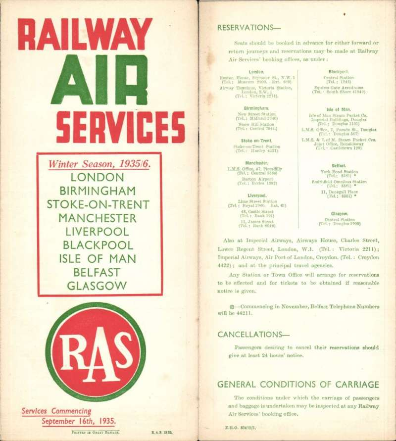 "(Ephemera) Railway Air Services Ltd, ""Railway Air Services Winter Season 1935-36, London-B'ham, B'ham-Manchester, Stoke on Trent-Blackpool, Manchester-Liverpool,  Blackpool-IOM and Belfast-Glasgow service, original official company timetable listing departure and arrival times, ticket regulations, passenger and freight fares, booking facilities and air/rail combined fares, red/white/green, 6pp 1pp, 9x22cm."