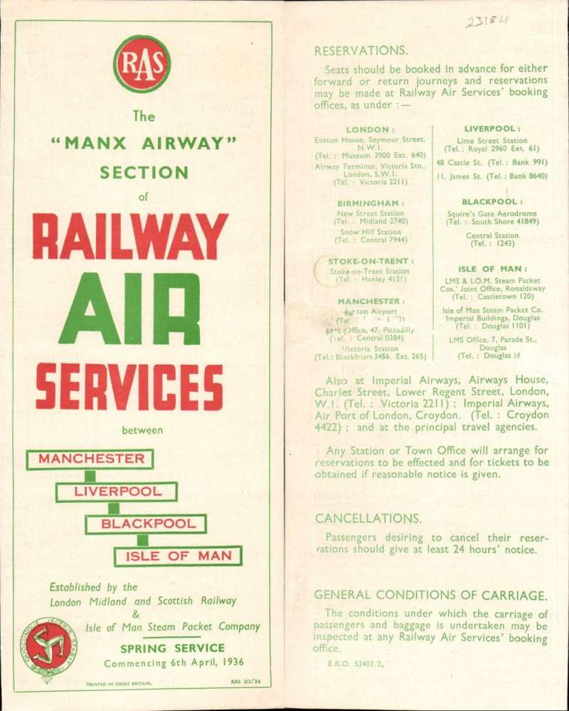 "(Ephemera) 'The Manx Section', Railway Air Services Ltd, ""Railway Air Services 6th April 1936,, Manchester-Liverpool-Blackpool-Isle of Man, original official company timetable listing departure and arrival times, ticket regulations, passenger and freight fares, booking facilities and air/rail combined fares, red/white/green, 4pp 1pp, 9x22cm."