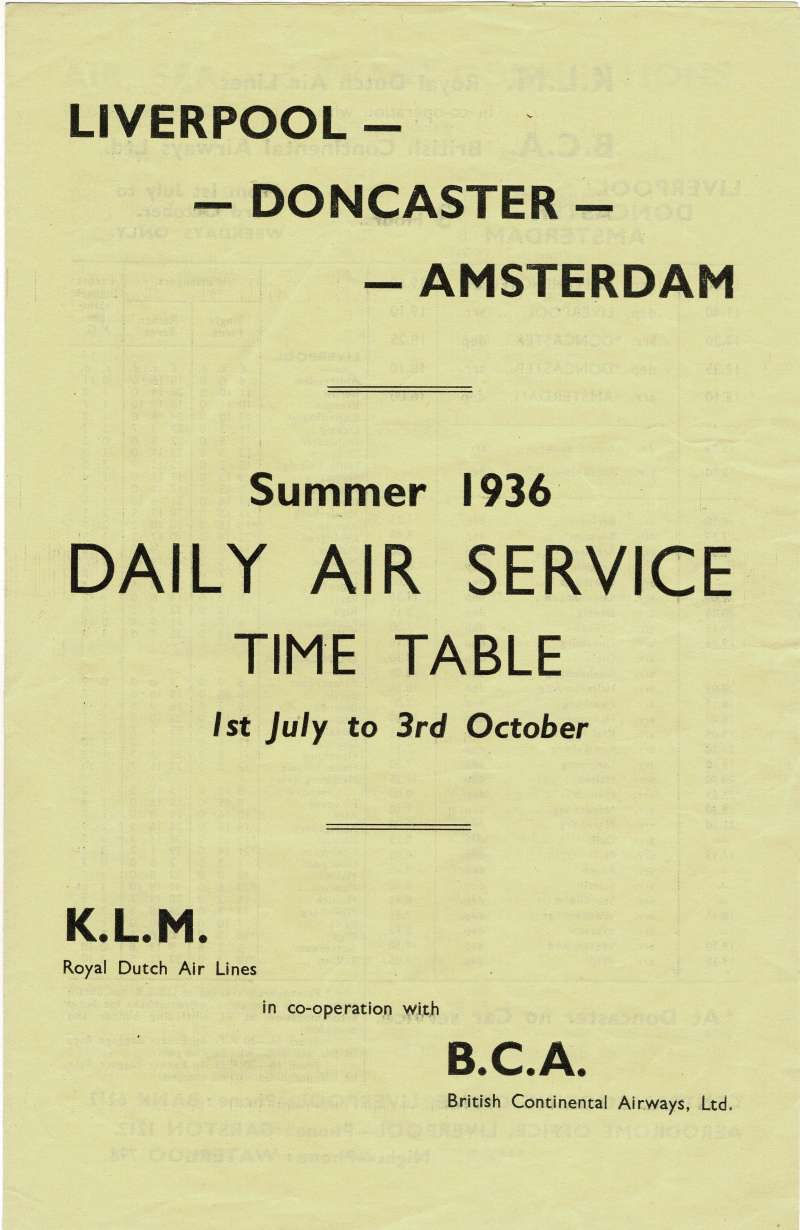(Ephemera) KLM/British Intercontinental Airways,, Daily Air Service Time Table, Summer 1936, Liverpool-Doncaster-Amsterdam, inc Arrival/depart times, air, sea and train connections, 4pp,  20x13cm.