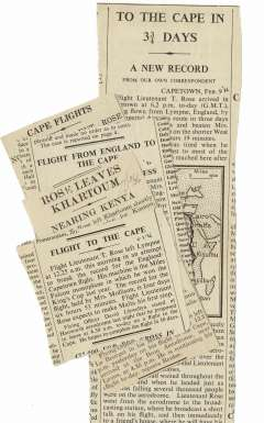 (Ephemera) Tommy Rose record breaking flight from England to Cape Town, Feb 1936, five original newspaper cuttings from various stages of journey, and including a map of the route.