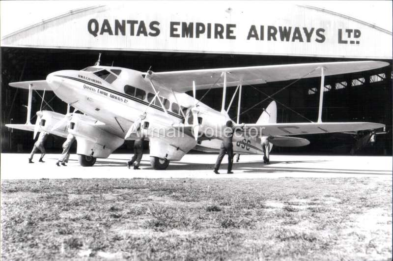 (Ephemera) RMA 'Canberra', 1934 Qanta operating the Australia-Singapore service, then transfered to Mac Robertson/Miller Aviation operating the Perth-Darwin service. B&W photograph from an original negative clearly showing the plane's name and registration number, 10x15cm. Watermark for display only.