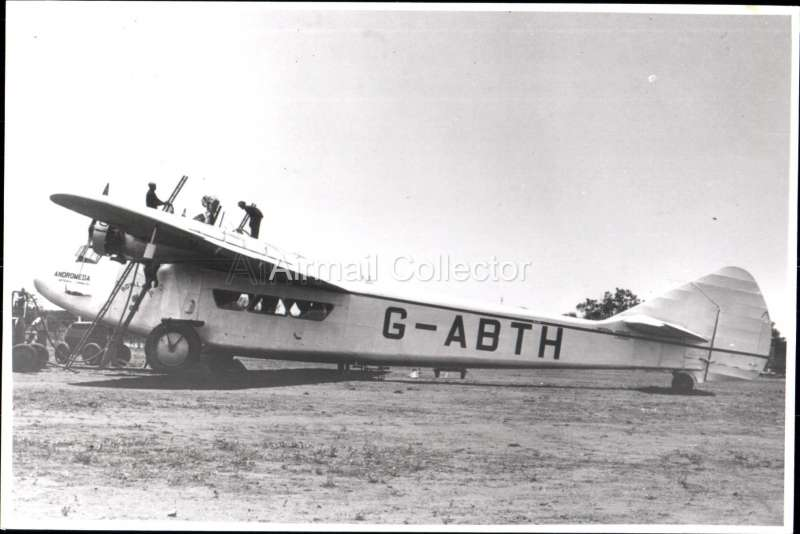(Ephemera) Armstrong Whitworth Atlanta 'Andromeda' G-ABTH, Imperial AW operating the GB - India service, B&W photograph c1933 from an original negative clearly showing the plane's name and registration number, 10x15cm. Watermark for display only.