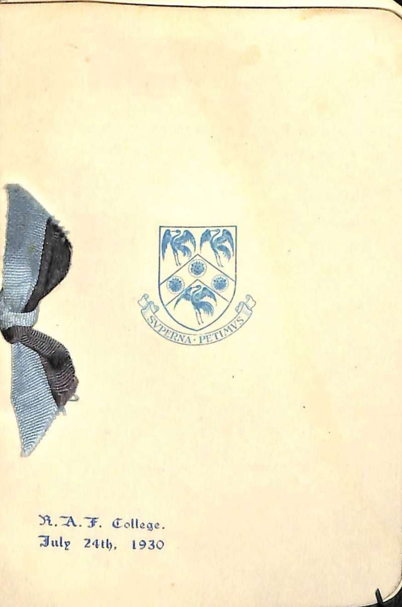 (Ephemera) RAF College, July 24th, 1930, original dance card and pencil attached, in fine condition, see images.