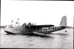 (Ephemera) Short S23 ' flying boat 'Corinna', operating on the IAW Eastern service/Horseshoe route. B&W photograph c 1935, from an original negative showing the plane's name and registration number, 10x15cm. Watermark for display only.