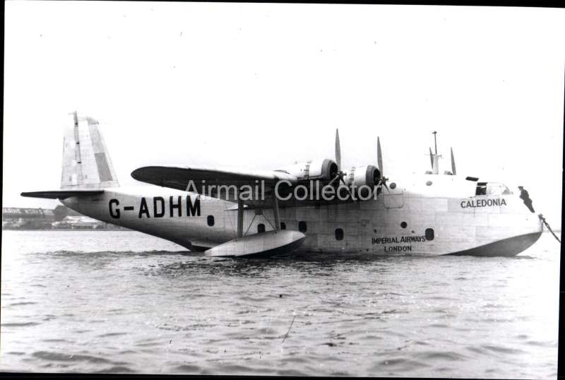 (Ephemera) Short Empire flying boat 'Caledonia', made first crossing of the Atlantic 5/7/37. B&W photograph c 1938, from an original negative clearly showing the plane's name and registration number, 10x15cm. Watermark for display only.
