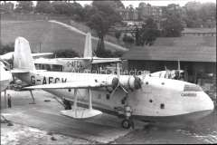 (Ephemera) Short S30 ' flying boat 'Caribou', operating on the IAW Africa, Axsia and Australia routes. B&W photograph c 1934, from an original negative showing the plane's name and registration number, 10x15cm. Watermark for display only.