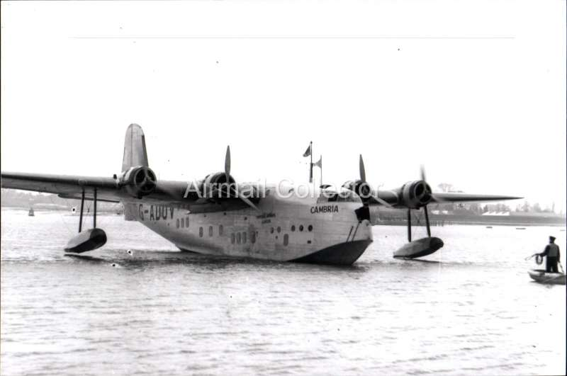 (Ephemera) Imperial Airways flying boat 'Cambria', operating long range flights to the Far East and Australia. B&W photograph c 1934, from an original negative showing the plane's name and registration number, 10x15cm. Watermark for display only.