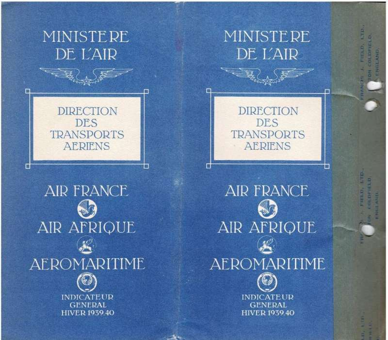 (Ephemera) Air France, Air Afrique and Aeromaritime official timetable, 38pp, 20x20 cm, published January 1940, showing flight departure and arrival times for over 100 destinations served by Air France, Regie Air Afrique and Aeromaritime. A wealth of information otherwise difficult to come by, file holes. Image.